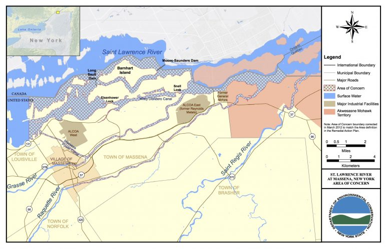 A map of the St. Lawrence River Area of Concern and its tributaries. Image: New York Department of Environmental Conservation