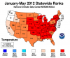 Statewide ranks for warmest states based on each state's average temperatures for 2012. Photo: NOAA.gov.